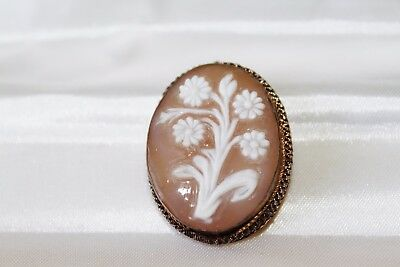 VICTORIAN GOLD on 800 SILVER Carved Shell FLOWER BOUQUET Cameo Brooch Pendant