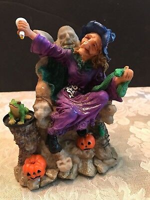 Resin Witch Figurine Mixing Potion on Frog Green Snake Ghoul Chair Spider Web 6""