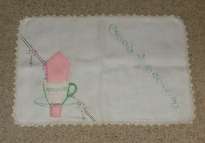 Vintage/antique Embroidered Linen Tray Cloth & Pink Serviette - Crochet Edge