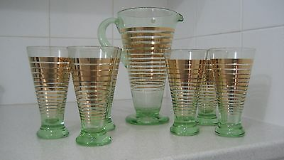 "Vintage ""Wyndham"" Uranium glass Water Set with six matching tumblers"