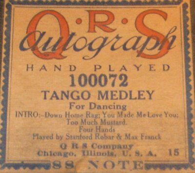 "Down Home Rag + 2 More ""tango Medley"" Original Old Piano Roll 1017"