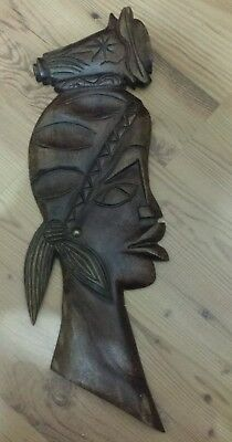 Antique Vintage Hand crafted Carved Wooden African Face Bust wood Sculpture