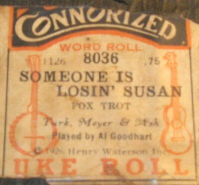 "Uke Roll! ""some Is Losin' Susan"" Original Old Piano Roll 1017"
