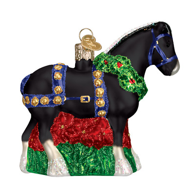 """Black Clydesdale"" (12477)X Old World Christmas Glass Ornament w/ OWC Box"