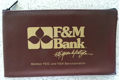 """F&M Bank, """"Fits Your Lifestyle"""", Bancorporation Coin, Money Deposit Bag"""