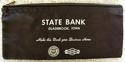 """State Bank, Gladbrook ,Iowa IA, """"Your Business Home"""" Coin, Money Deposit Bag"""