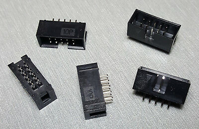 10 Pin IDC socket Vertical PCB Mount 2.54mm 2x5 Male Box header Pack of 5