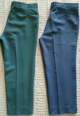 VTG 70s Sears The Mens Store Polyester Pants 39.5 W x 26.5 L Lot Of 2 Blue Green