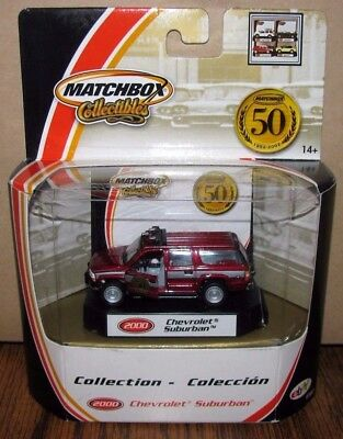 Matchbox 2000 Chevrolet Suburban Fire Truck Maroon 97057 50th Anniversary Toy mb