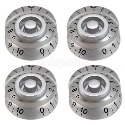 4x Vintage Electric Guitar Speed Control Knobs for LP SG Guitar Knobs Silver