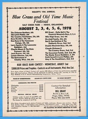 1978 Grants Bluegrass Festival Hugo OK Osborne Bros Lewis Fam Mile High Grass Ad