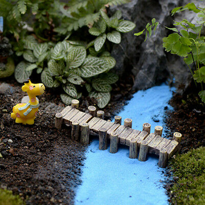 Mini Wooden Bridge Micro Landscape Resin Figurines Fairy Garden Accessories SN