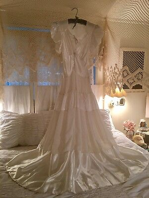 Vintage Antique ART DECO Gatsby Satin A-Line Wedding Dress Gown c1930s Small XS