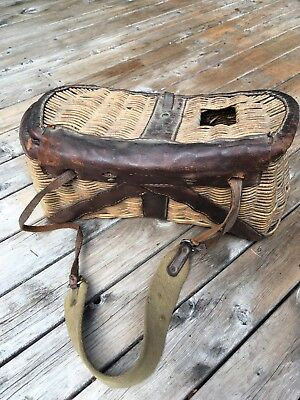 Vintage Wicker Fishing Creel Basket With Leather Trim& Canvas Strap.
