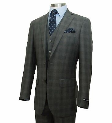 Men's Gray Glen Plaid Checkered 3pc 2 Button Slim-Fit Suit w/ Matching Vest NEW
