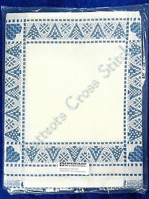 "Tannenbaum Afghan To Cross Stitch Blue & White 42"" x 55"" 18 Count Zweigart"