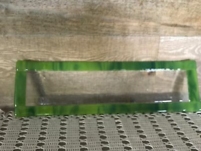 Long Rectangle Plate Art Glass with Green Trim