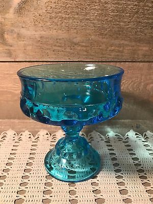 Indiana Glass Blue Kings Crown Thumb Print Compote Candy Pedestal Dish