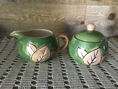 Ceramic Creamer and Sugar Dish Green with Fall Leaves Vintage