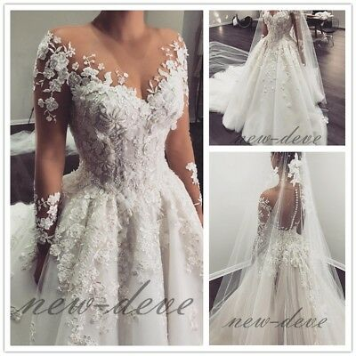 Gorgeous White Flower Applique Wedding Dresses A Line Long Sleeves Bridal Gowns