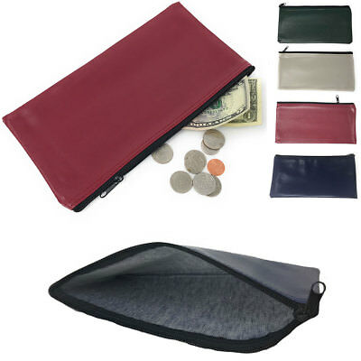 2 PACK (LOT) Zippered Bank Bags Deposit Purse Insert Coins Credit Cards Money