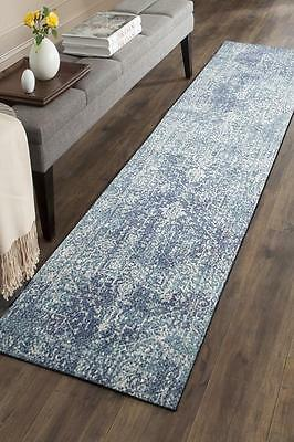 Hallway Runner Hall Runner Rug Modern Blue 4 Metres Long x 80cm Wide Edith 253