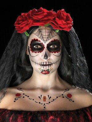 Costume Sugar Skull Halloween Day of the Dead Face Tattoo Transfer Kit Red