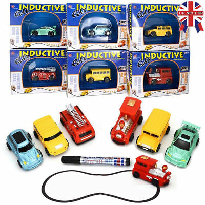 UK Red Bus Car Model Magic Follow Any Drawn Line Pen Inductive Toy Kids Gift