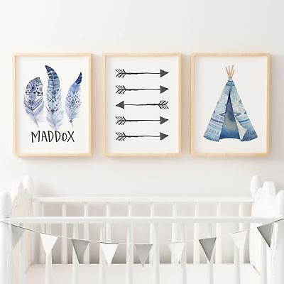 Boys Boho Tribal Nursery or Bedroom Wall Art Print Set -Personalised -Baby, Kids