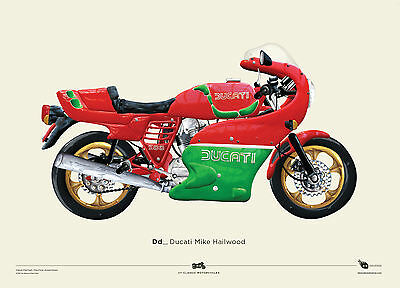 NEW Ducati Mike Hailwood motorcycle poster Boy's by Revs And Threads