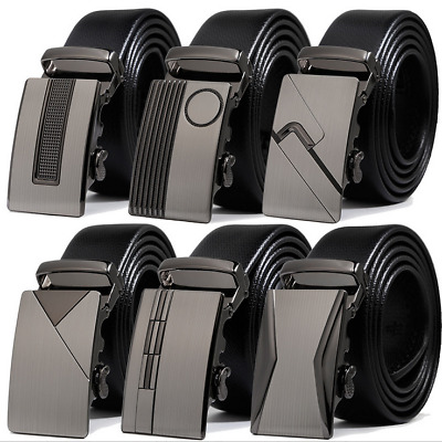 Fashion Leather Mens Automatic Ratchet Buckle Waist Strap Belts NEW! 8 Styles
