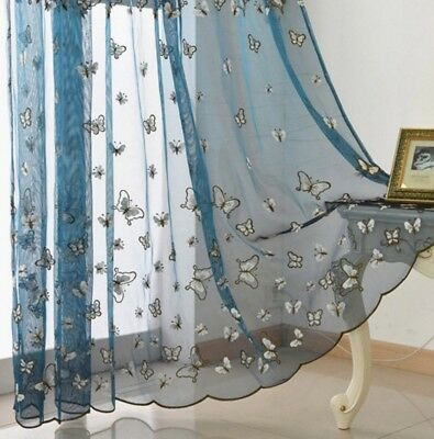 Thin Polyester Sheer Curtain Blue Organza Room Tulle Sheer Fabric Voile 1 Piece