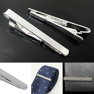 New Silver Metal Tie Clip Holder Clasp 60mm Mens Bar Pin Plain Wedding Pin Gift