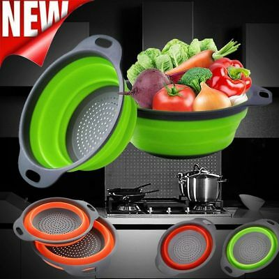 Kitchen Collapsible Foldable Silicone Colander Fruit Vegetable Strainer Basket