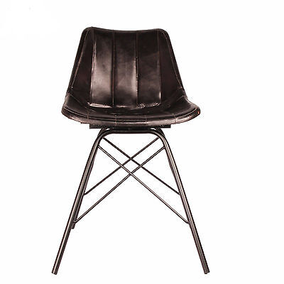 Industrial Style Metal Dining Black Leather Dining Chair Home Decor