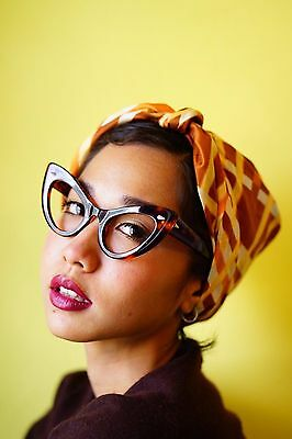 Vintage 1960s Style Cat eye Glasses Rockabilly Large Thick plastic Tortoiseshell