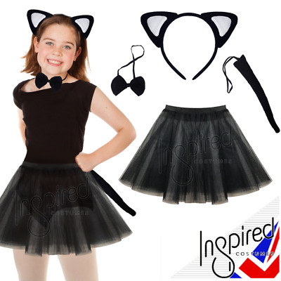 Girls Halloween Costume WITCHES BLACK CAT Fancy Dress 3L PlainTUTU & Accessories