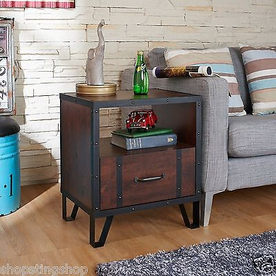Indian Vintage Walnut Black Brown Wood Industrial Side End Table Console Table