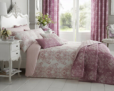Toile Reversible Designed Floral Bedding Range Duvet Cover in Pink All Sizes