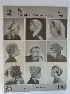 Patons Knitting book no.490 hats scarves mittens to knit vintage knitting 1940s