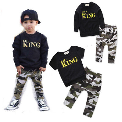 2pcs Toddler Infant Kids Baby Boy T-shirt+camouflage shorts pants Sets Clothing