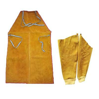 Welder Apron Welding Protective Gear Apparel Cowhide Leather Apron w/ Sleeve