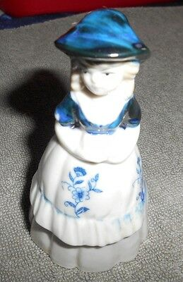 Ceramic Bell - Blue And White Girl With A Big Hat