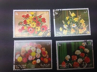 1972 Flowers Set Of 4 Stamps Sharjah