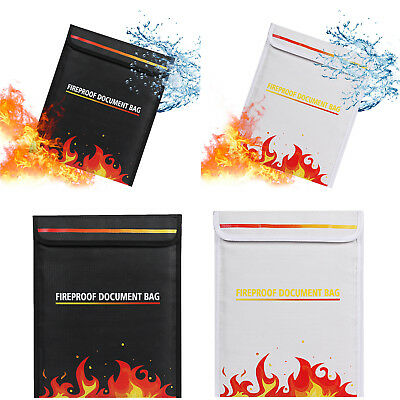 Fireproof Pouch Money Document File Safe Bag Cover Fire Water Resistant Material