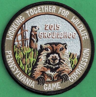 """Pa  Pennsylvania Game Fish Commission NEW 4"""" 2015 WTFW Groundhog Wildlife Patch"""