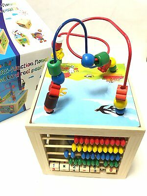 Kids Multi Function Colourful Wooden Activity Cube Toy 5 in 1 Puzzle Bead Maze