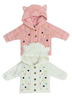 Babaluno TWIN PACK Girls Fur Lined Pom Pom Cardigan - Ages 12/18 - 18/24 Months