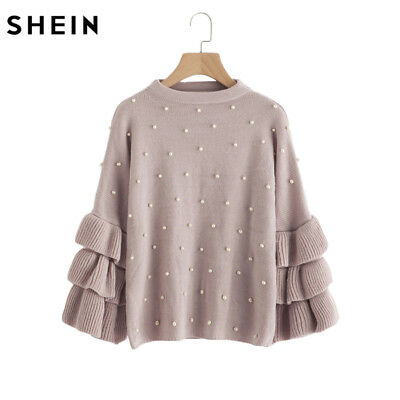 Softest Elegant Pearl  knitted sweater women jumper sleeve sweater One-Size