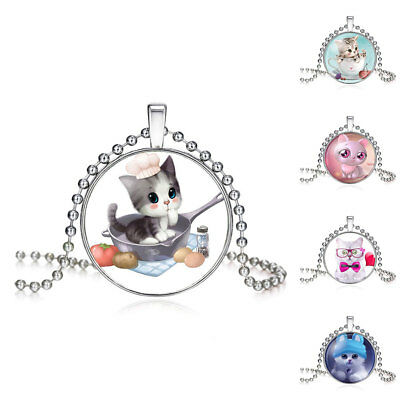 Chains High Quality Girls Silver Plated Cute Cat Glass Pendant Necklace Hot Sale